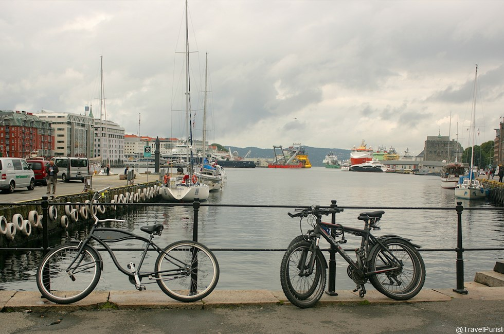 wharf, bicycles, ships, boats, cruise ship, lake, nature, landscape, ferry, ferry terminal, Torget, fisketorget, fish market, Bergen, Bryggen, Norway, seafood, Norge, Visit Norway, Norway in a Nutshell, Scandinavia, Nordic, travel